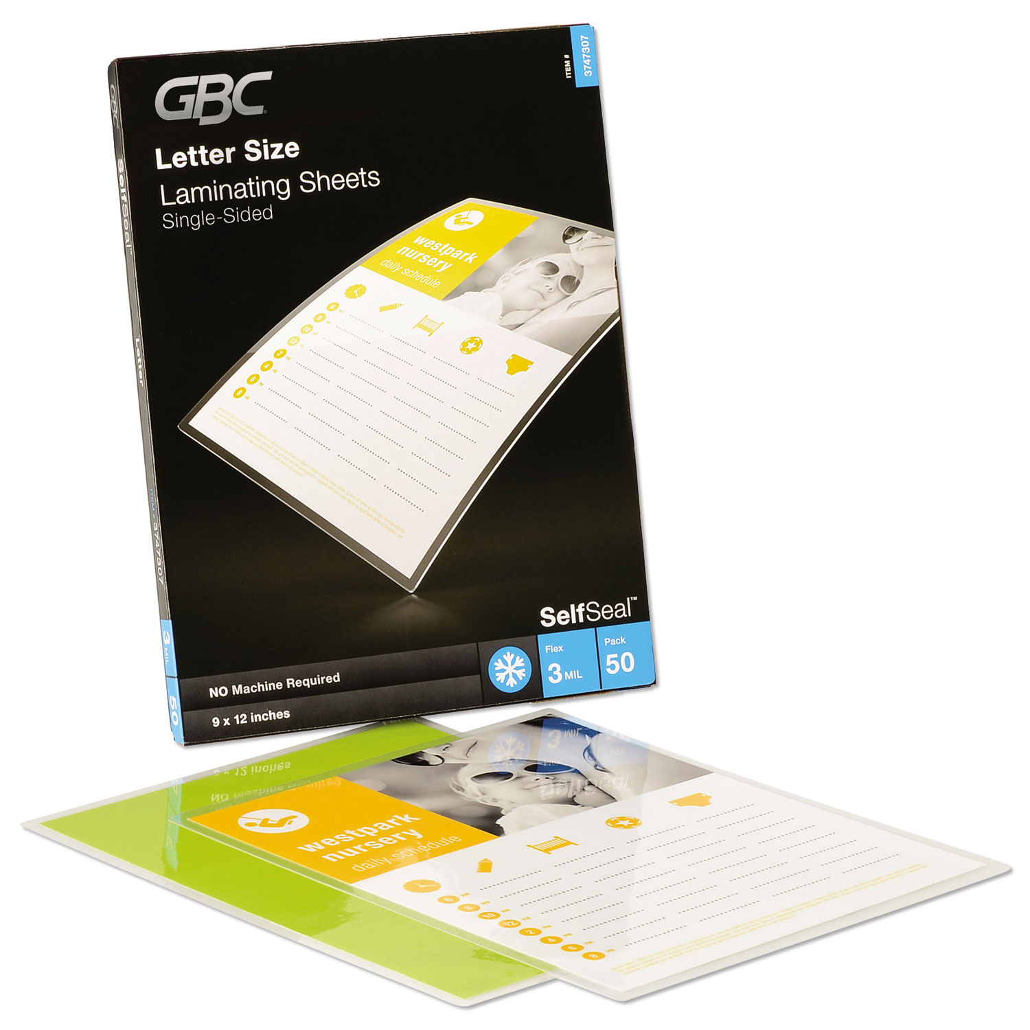 """SelfSeal Self-Adhesive Laminating Pouches and Single-Sided Sheets, 3 mil, 9"""" x 12"""", Gloss Clear, 50/Pack"""