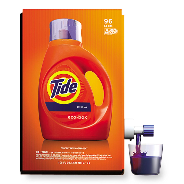 Eco-Box HE Liquid Laundry Detergent, Tide Original Scent, 105 oz Bag-In-A-Box