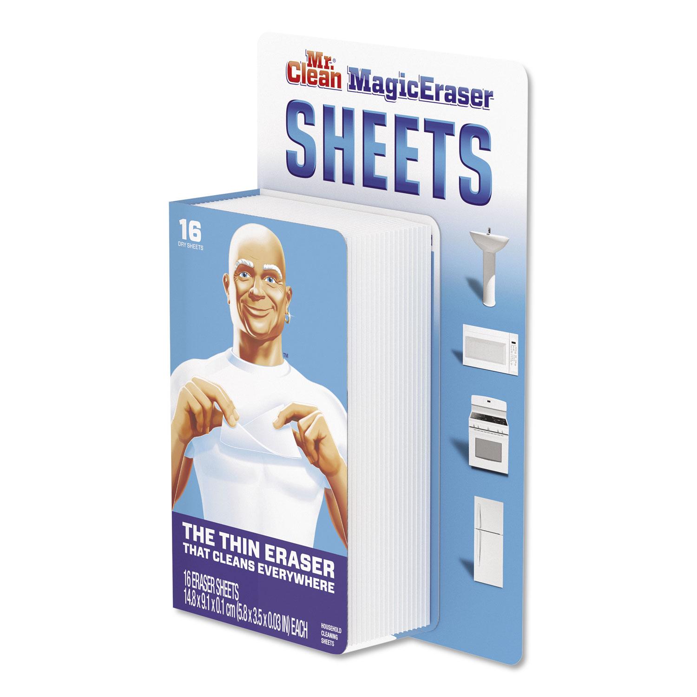 "Magic Eraser Sheets, 3 1/2"" x 5 4/5"" x 0.03"", White, 16/Pack"