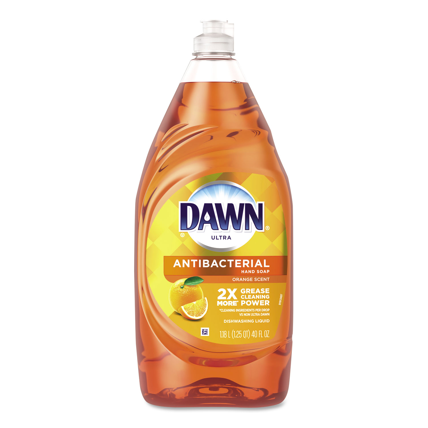 Dawn Ultra Antibacterial Dishwashing Liquid, Orange, 40 oz Bottle