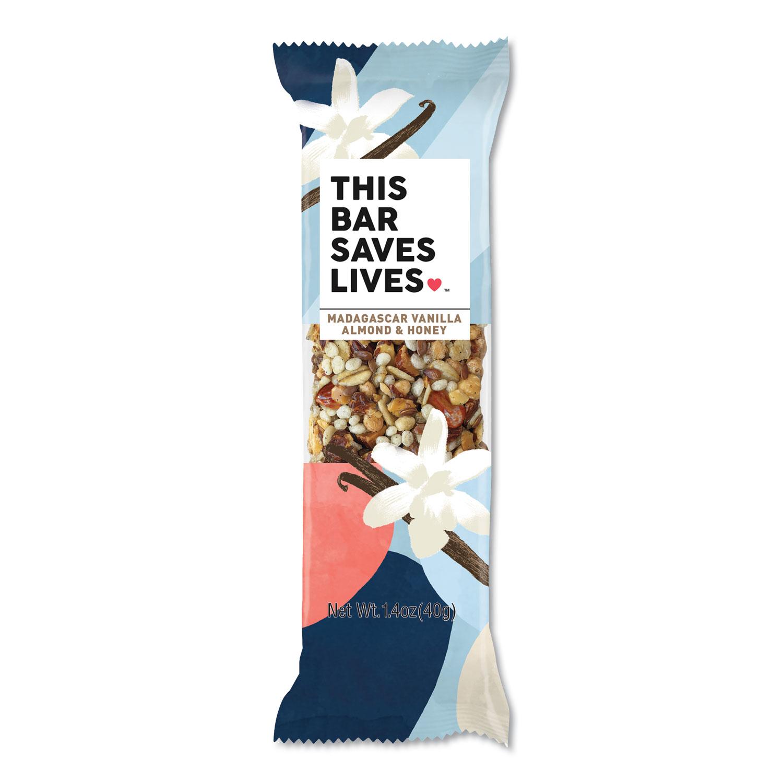 THIS BAR SAVES LIVES™ Snackbars, Madagascar Vanilla and Almond and Honey, 1.4 oz, 12/Box