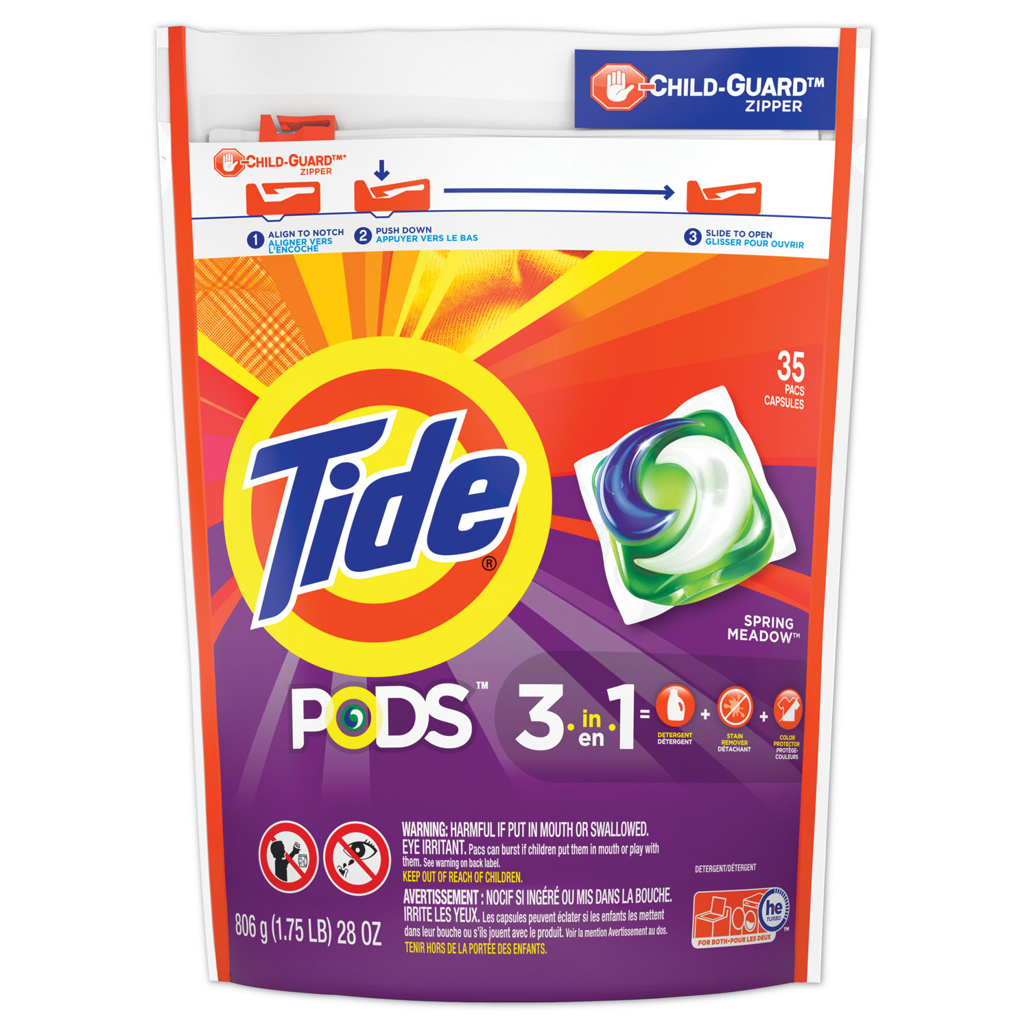 Pods, Laundry Detergent, Spring Meadow, 35/Pack