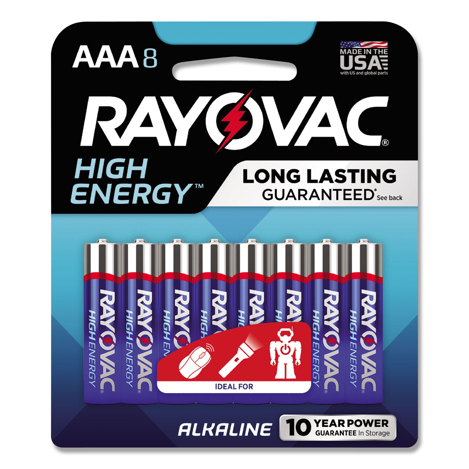 High Energy Premium Alkaline Battery, AAA, 8/Pack