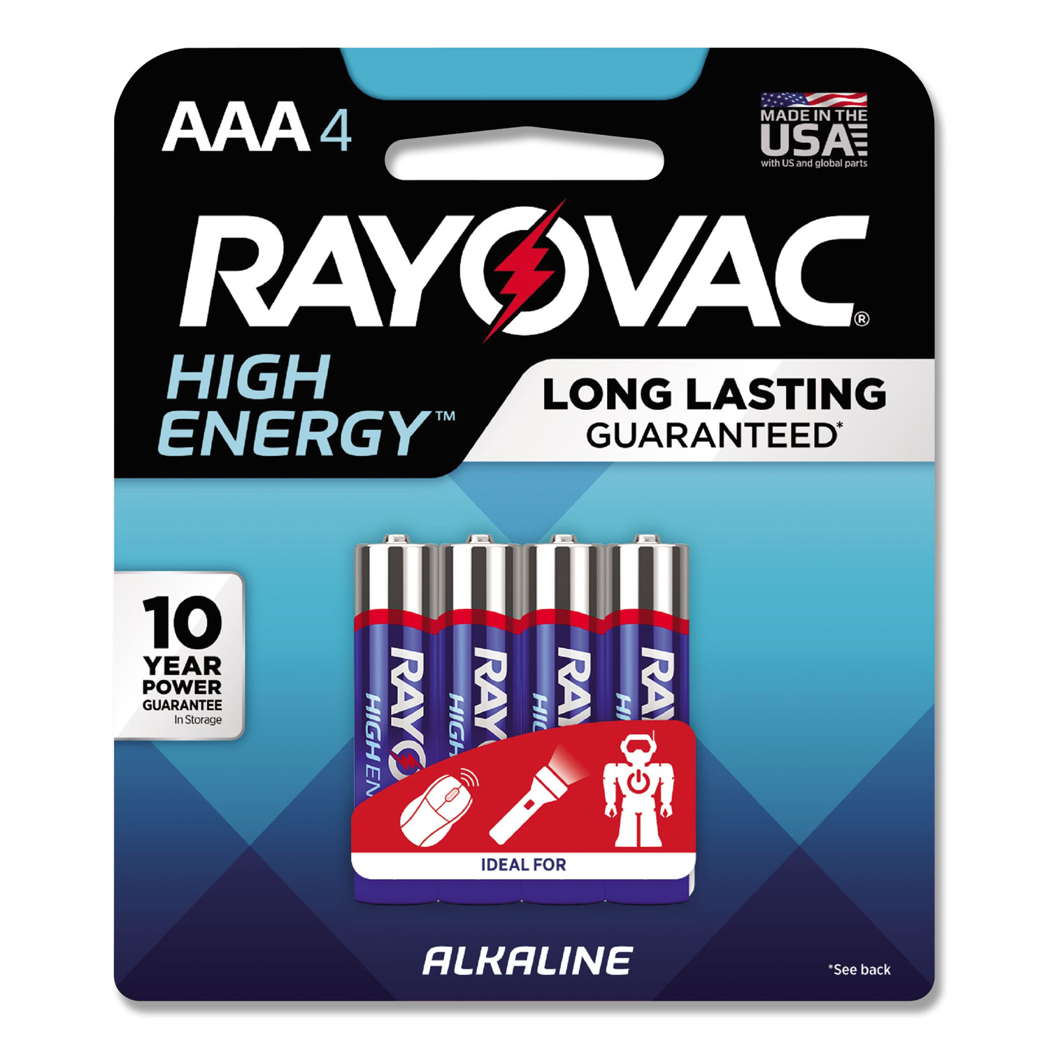 High Energy Premium Alkaline Battery, AAA, 4/Pack