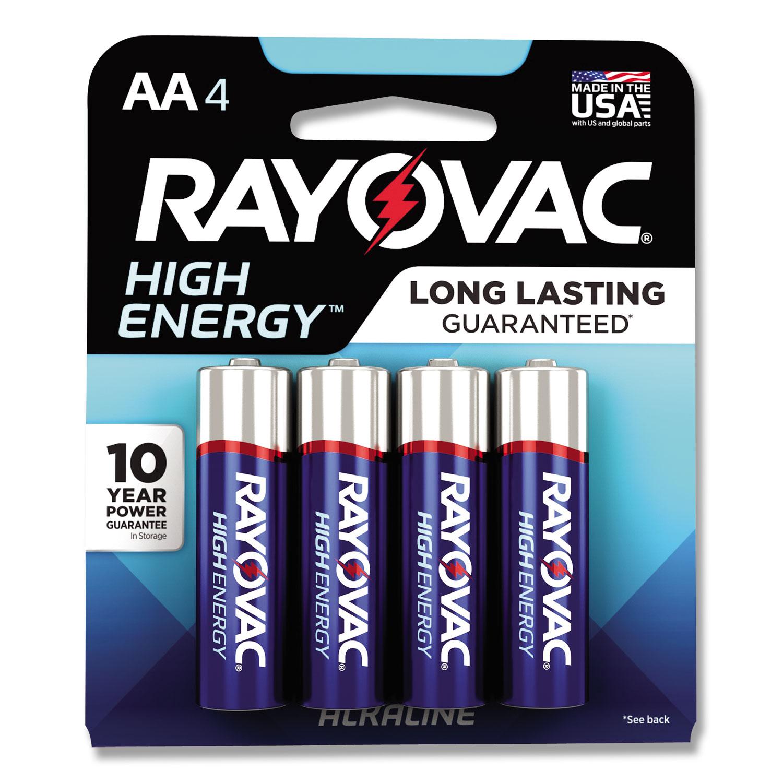 High Energy Premium Alkaline Battery, AA, 4/Pack