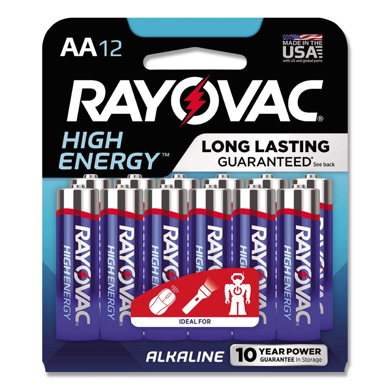 High Energy Premium Alkaline AA Batteries, 12/Pack
