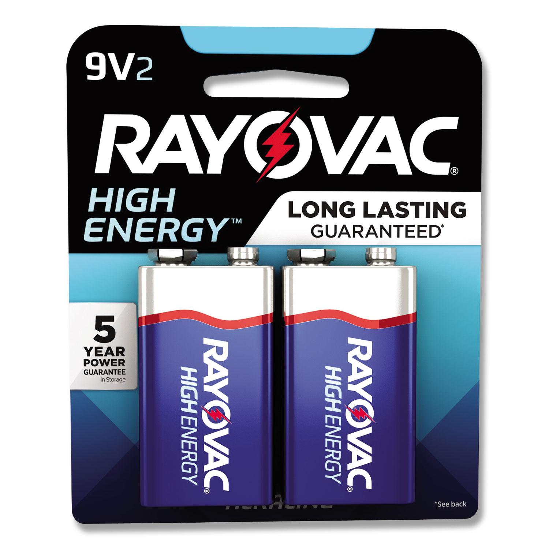 High Energy Premium Alkaline Battery, 9V, 2/Pack