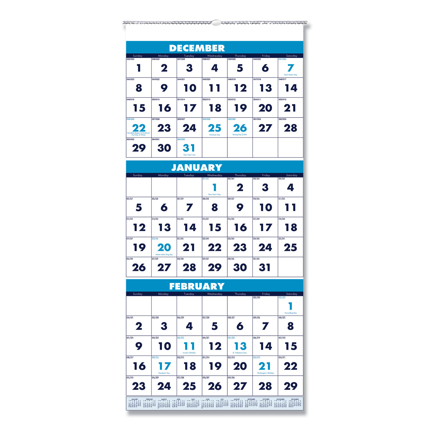 Recycled Three-Month Format Wall Calendar, 12.25 x 26, 14-Month, 2020-2022