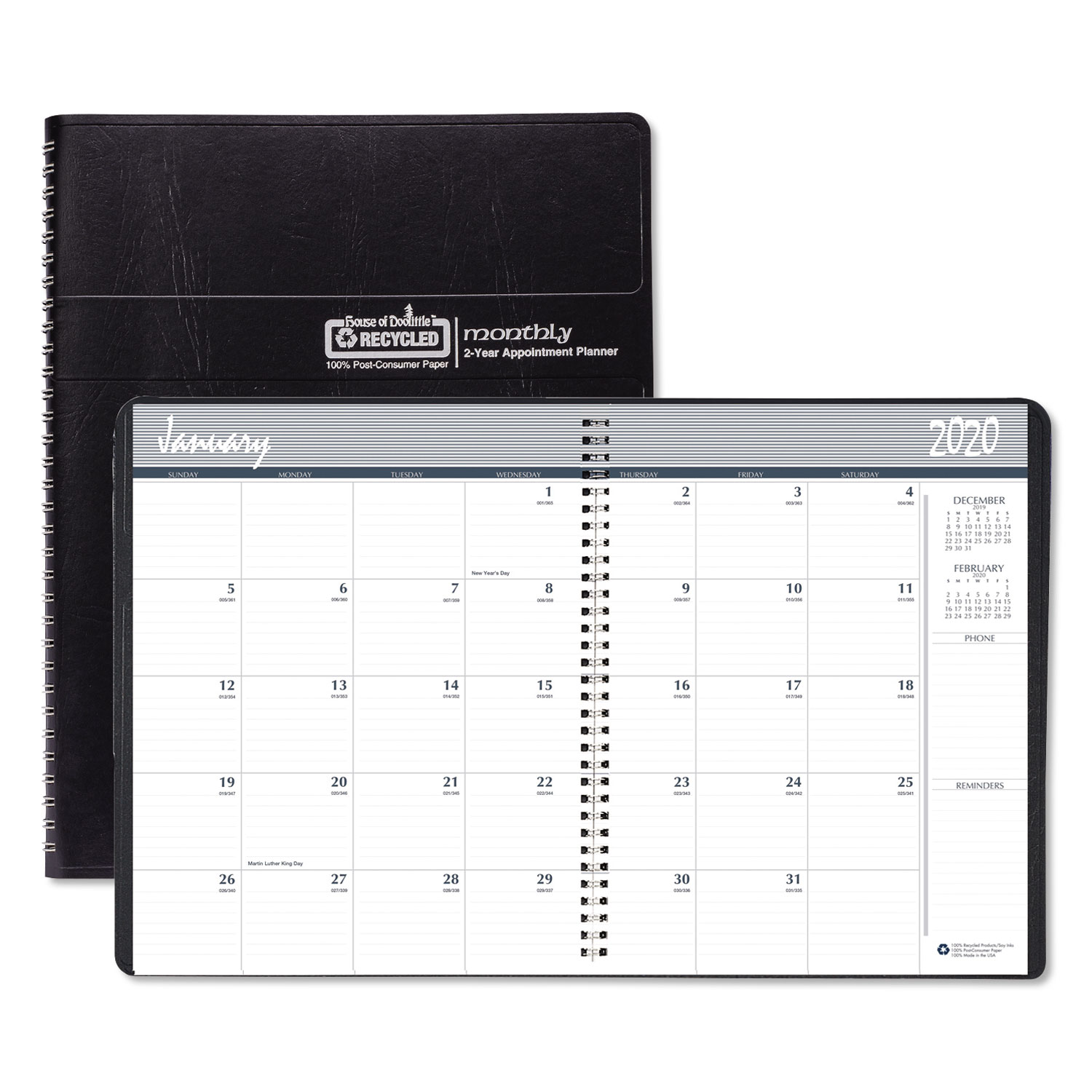 Recycled 24-Month Ruled Monthly Planner, 11 x 8.5, Black, 2021-2022