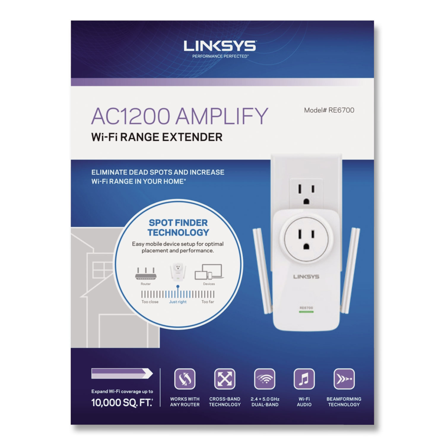 AC1200 AMPLIFY Dual-Band WiFi Extender, 2 Ports, 300/867 Mbps, 2.4/5GHz
