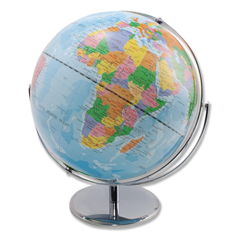 12-Inch Globe with Blue Oceans, Silver-Toned Metal Desktop Base,Full-Meridian