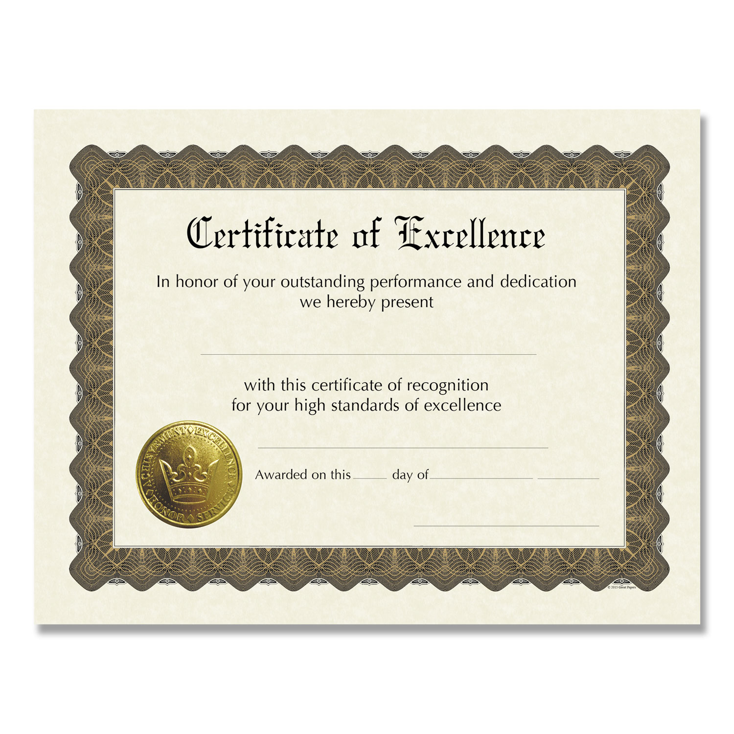 Ready-to-Use Certificates, 11 x 8.5, Ivory/Brown, Excellence, 6/Pack