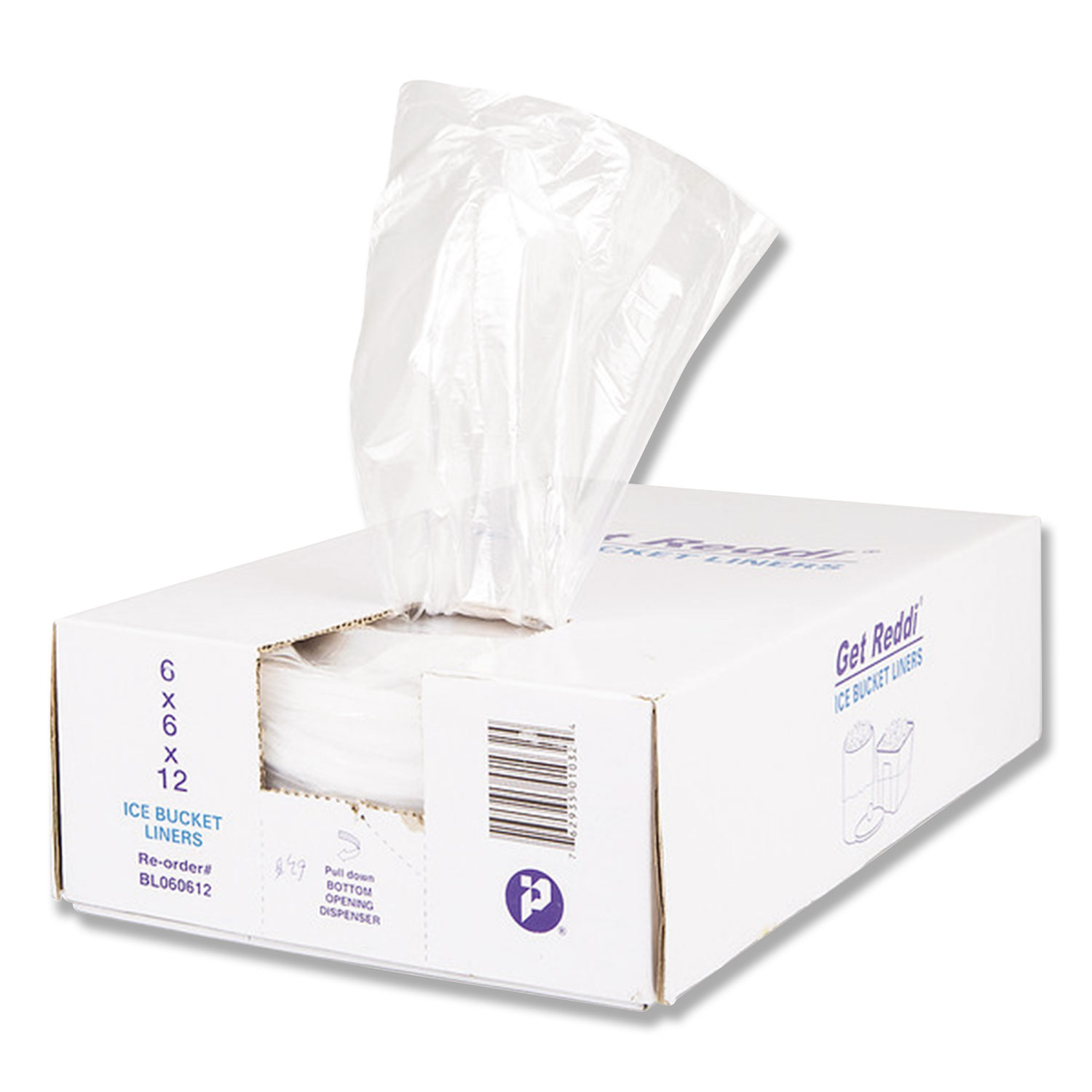 """Ice Bucket Liner Bags, 3 qt, 0.5 mil, 6"""" x 12"""", Clear, 1,000/Carton"""