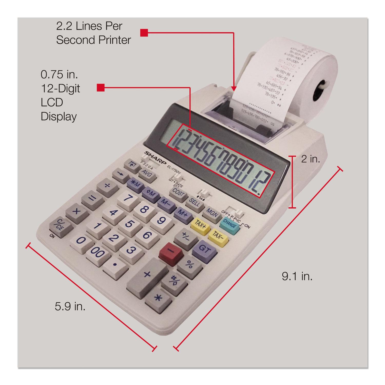 EL-1750V Two-Color Printing Calculator, Black/Red Print, 2 Lines/Sec