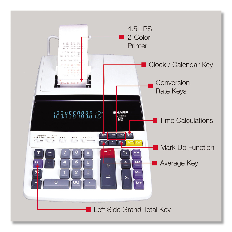 EL1197PIII Two-Color Printing Desktop Calculator, Black/Red Print, 4 5  Lines/Sec