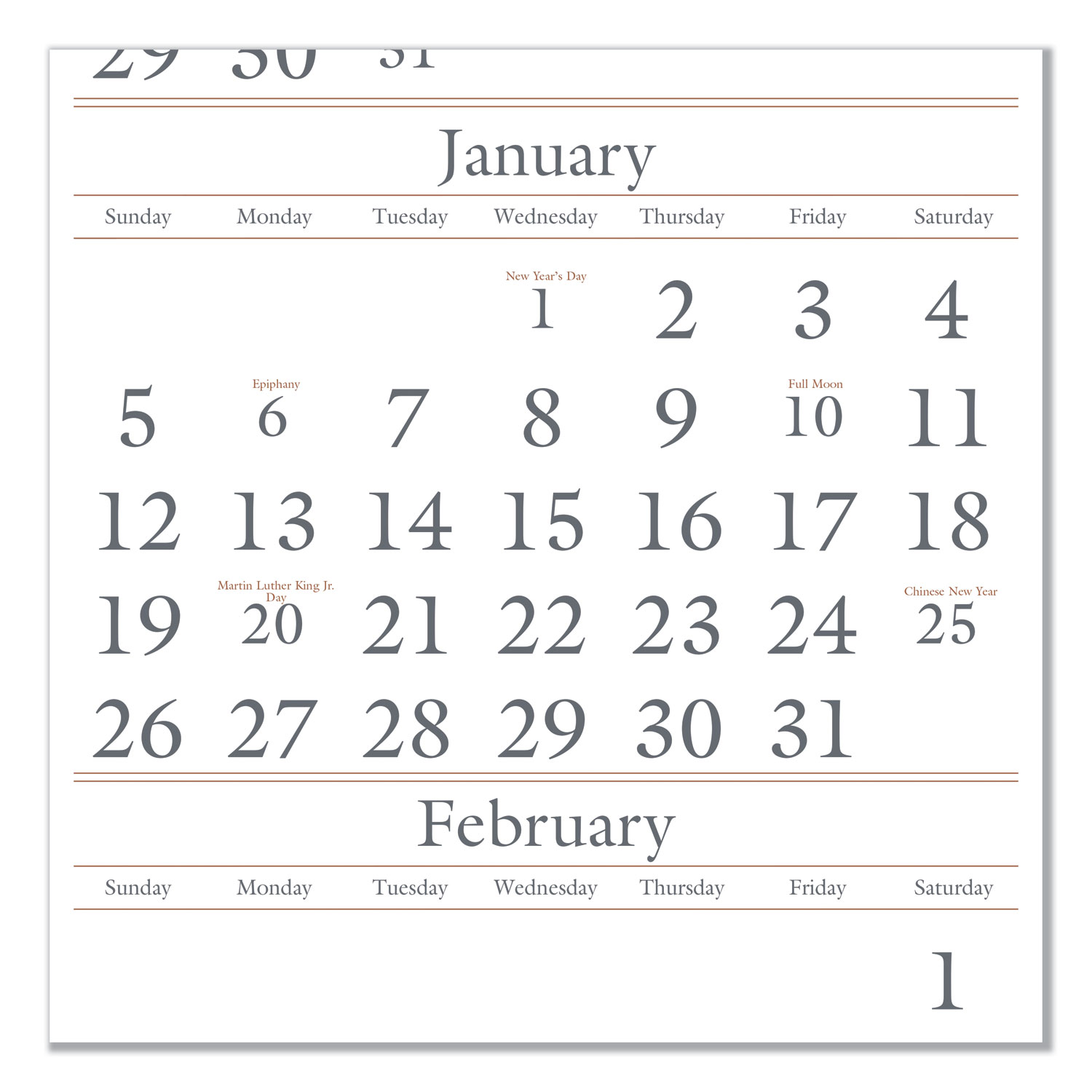 Three-Month Reference Wall Calendar, 12 x 27, 2018-2020