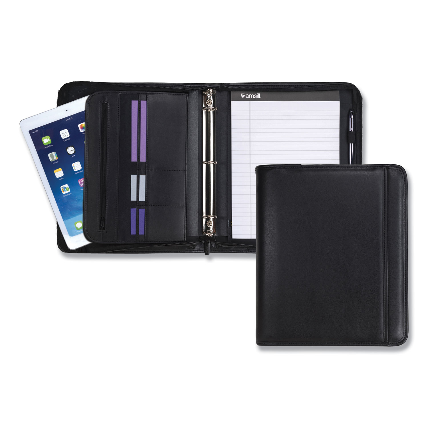 Professional Zippered Pad Holder/Ring Binder, Pockets