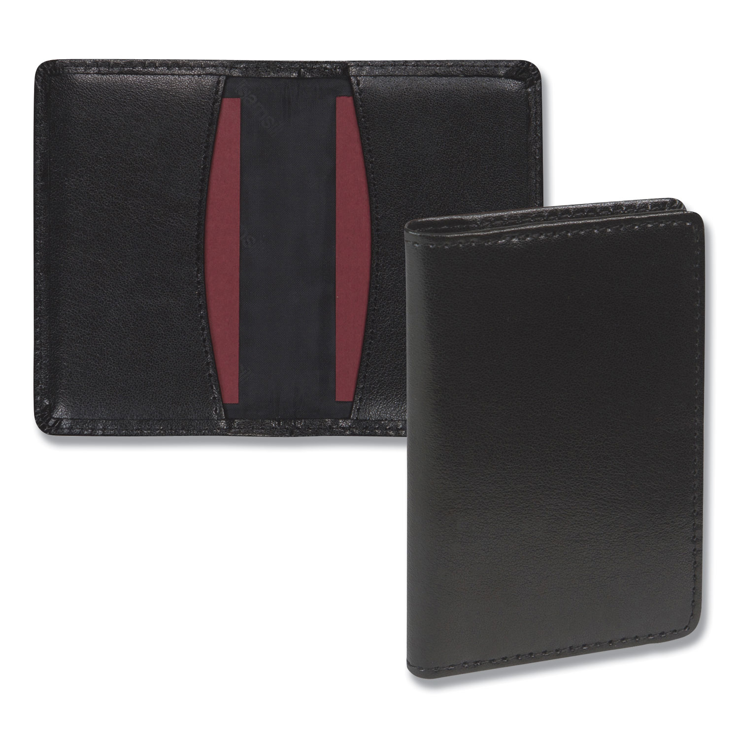 Regal Leather Business Card Wallet, 25 Card Capacity, 2 x 3 1/2 Cards, Black
