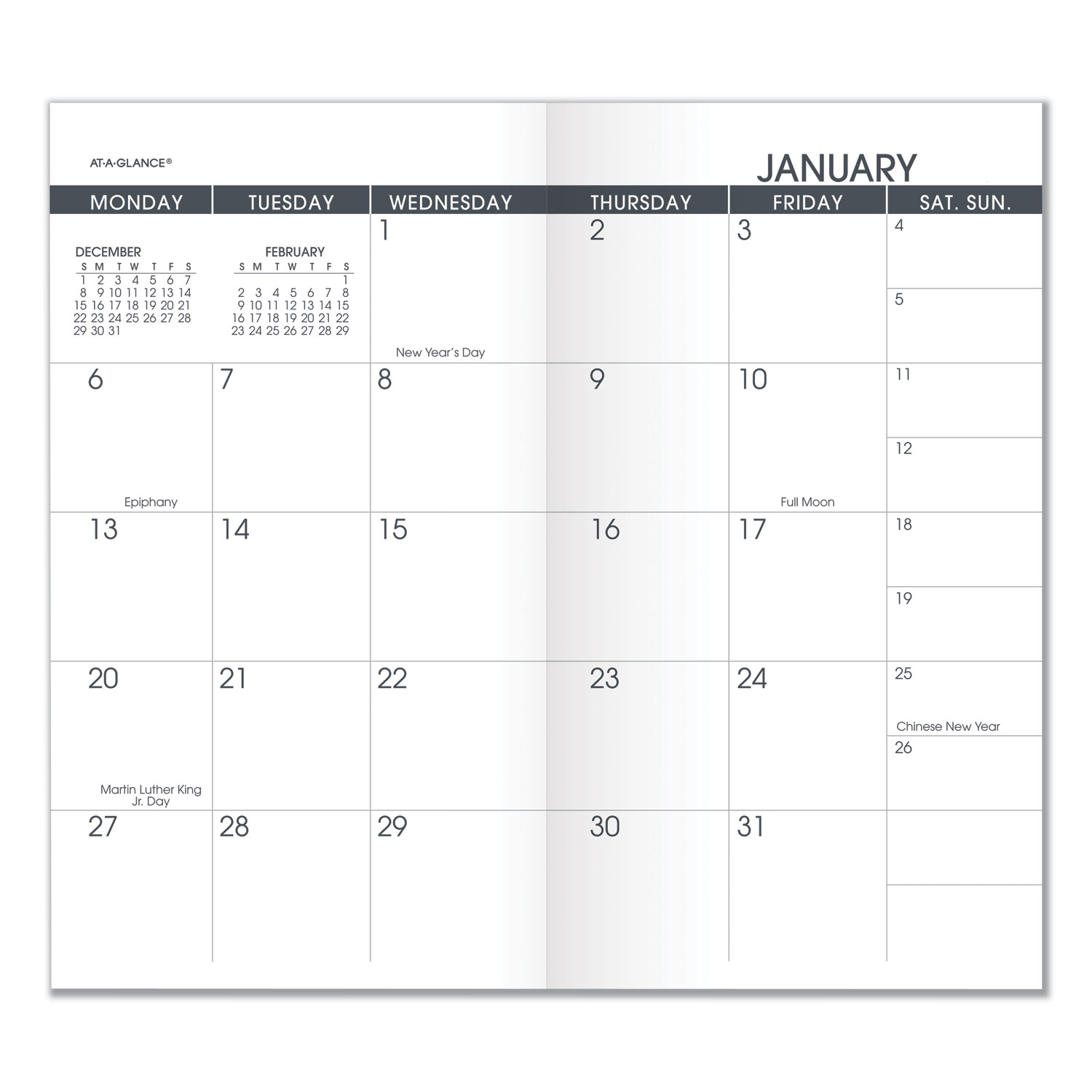 Pocket Size Monthly Planner Refill, 3 1/2 X 6 1/8, White, 2020-2021