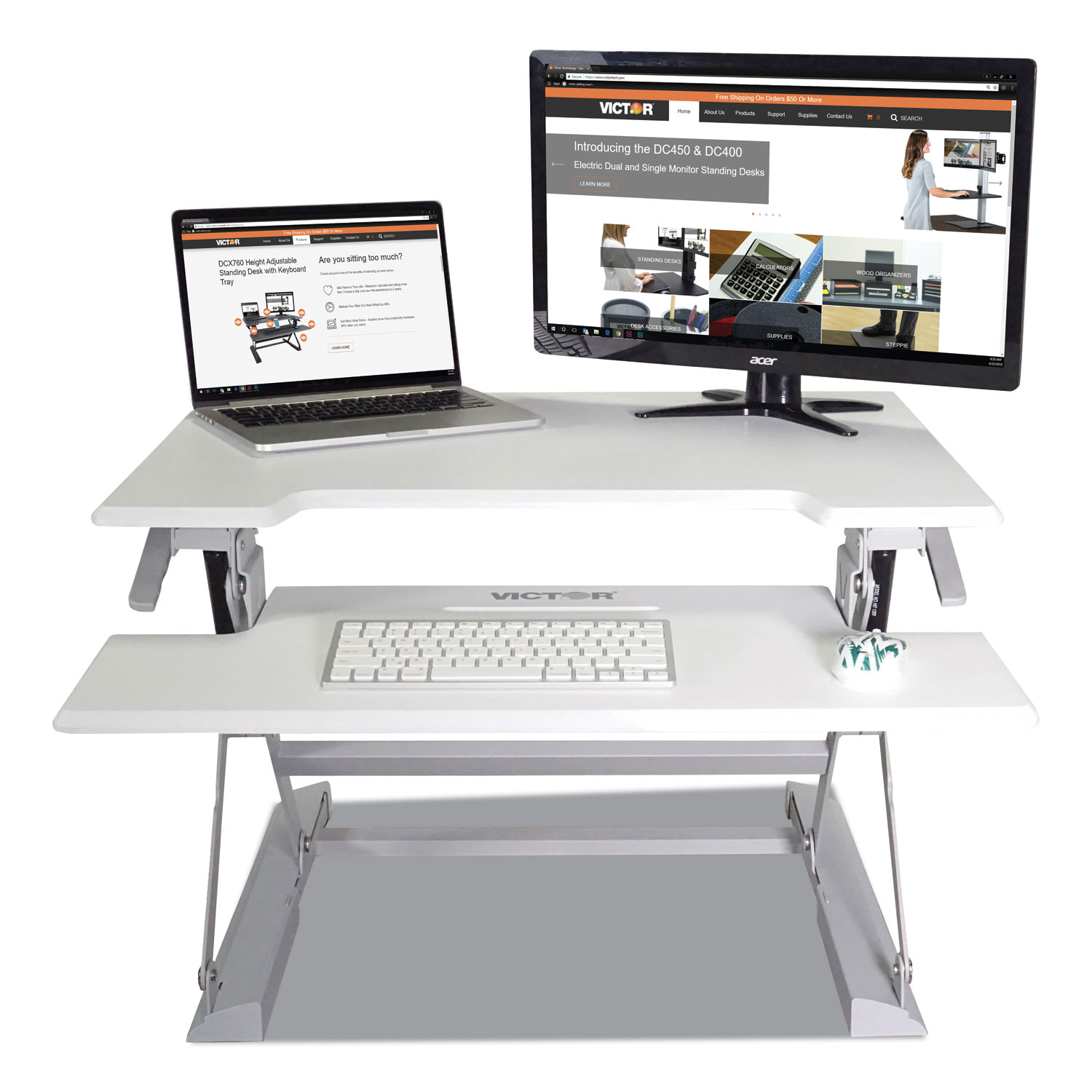 High Rise Height Adjustable Standing Desk With Keyboard