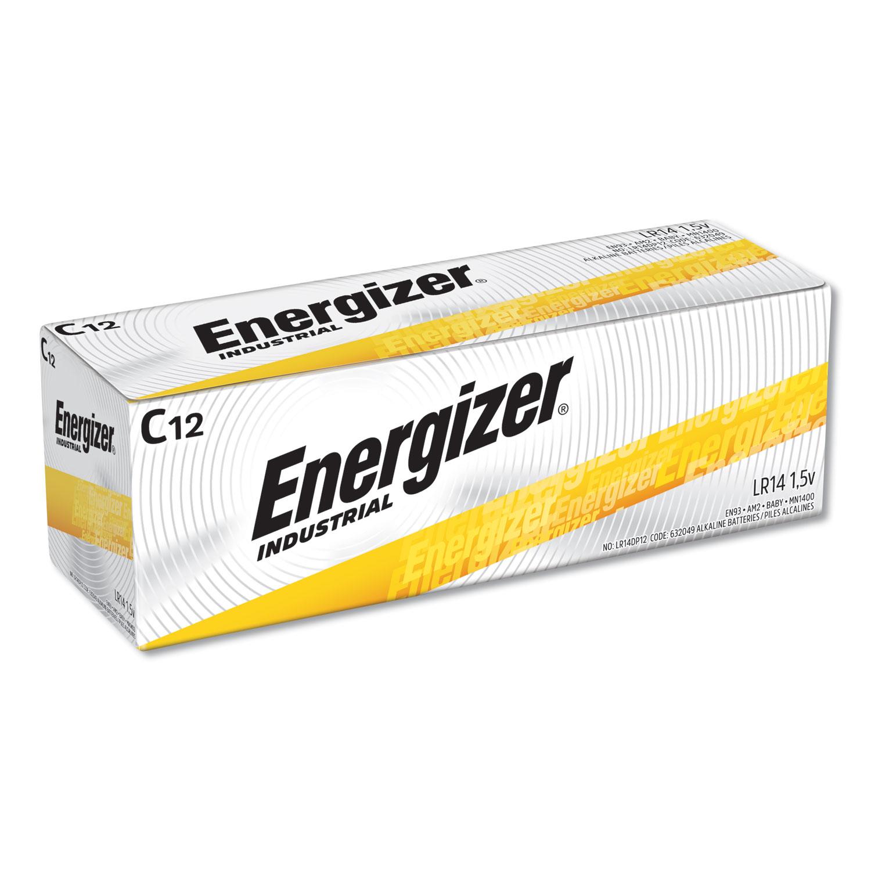 Industrial Alkaline C Batteries, 1.5V, 12/Box
