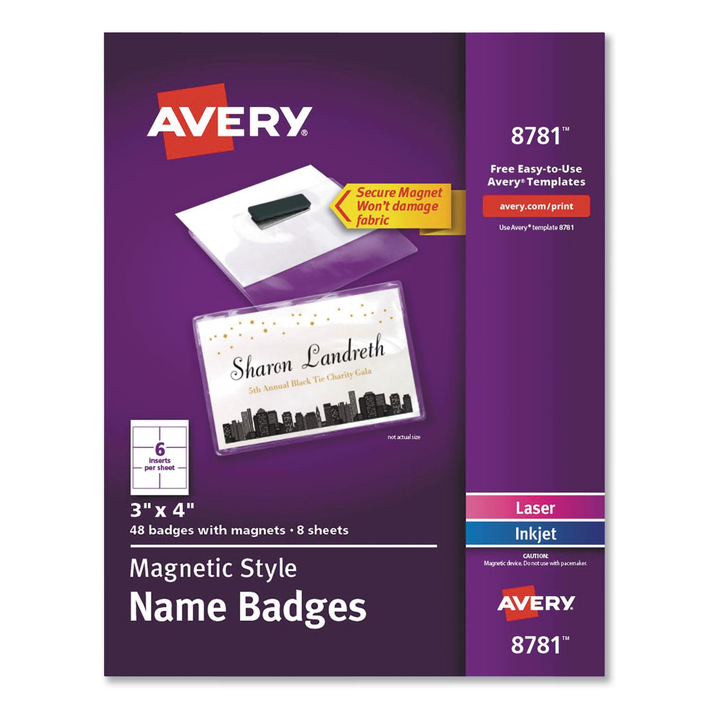 "Magnetic Style Name Badge Kit, Horizontal, 4"" x 3"", White, 48/Pack"