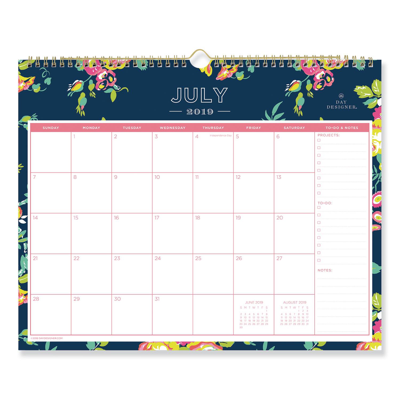 Day Designer Academic Year Wall Calendar, 15 x 12, Navy/Floral, 2020-2021