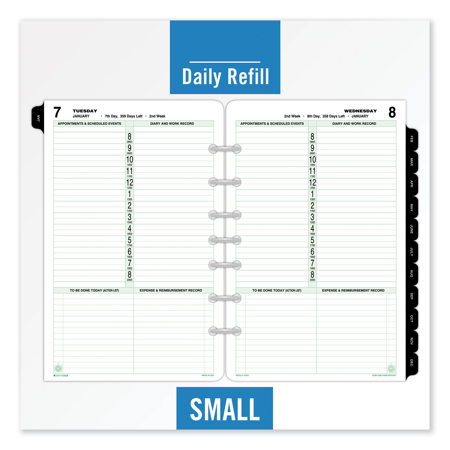 photo relating to Day Organizer referred to as Dated A single-Web page-for each-Working day Organizer Refill, January-December, 8 1/2 x 5 1/2, 2020