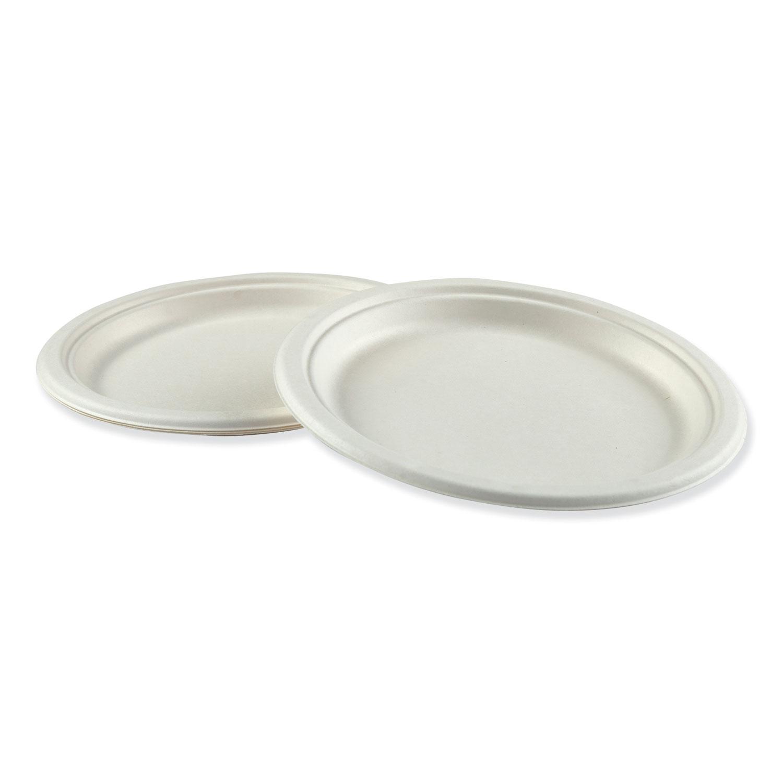"""Bagasse Molded Fiber Dinnerware, Plate, 9"""" Diameter, White, 500/Carton"""