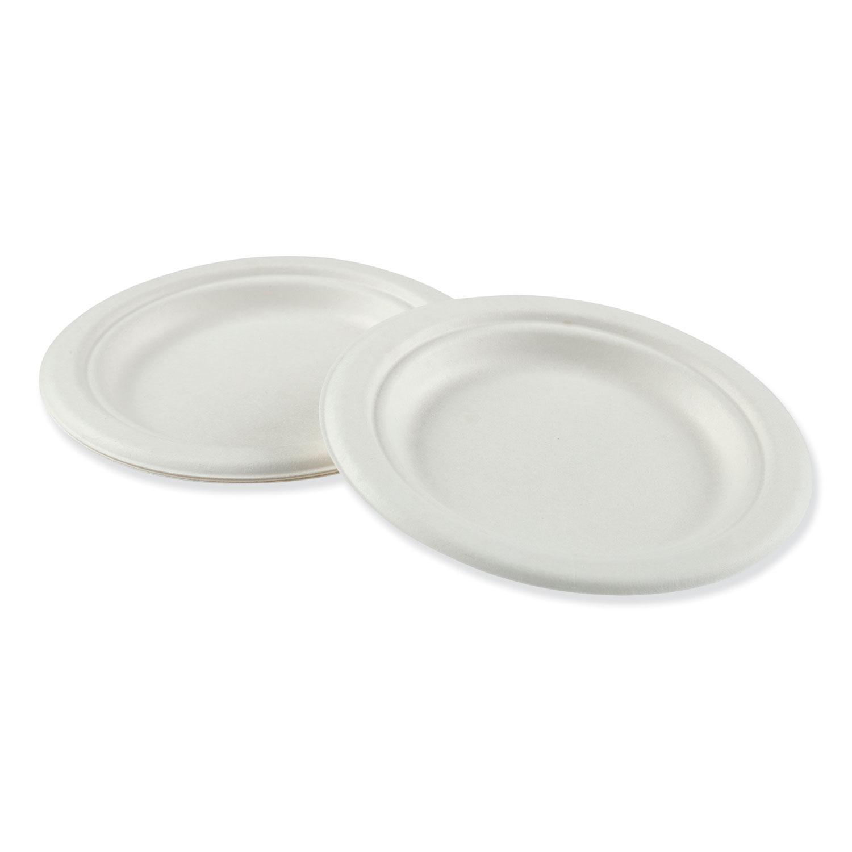 """Bagasse Molded Fiber Dinnerware, Plate, 6"""" Diameter, White, 1,000/Carton"""