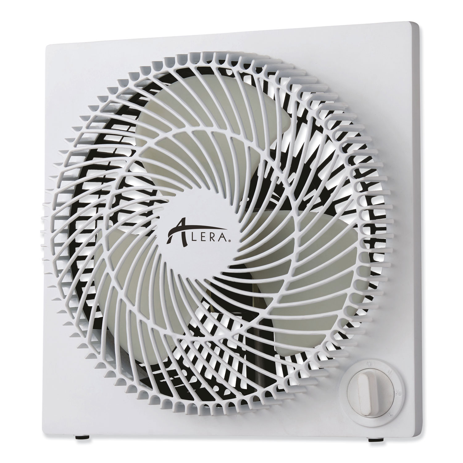 "9"" 3-Speed Desktop Box Fan, Plastic, White"