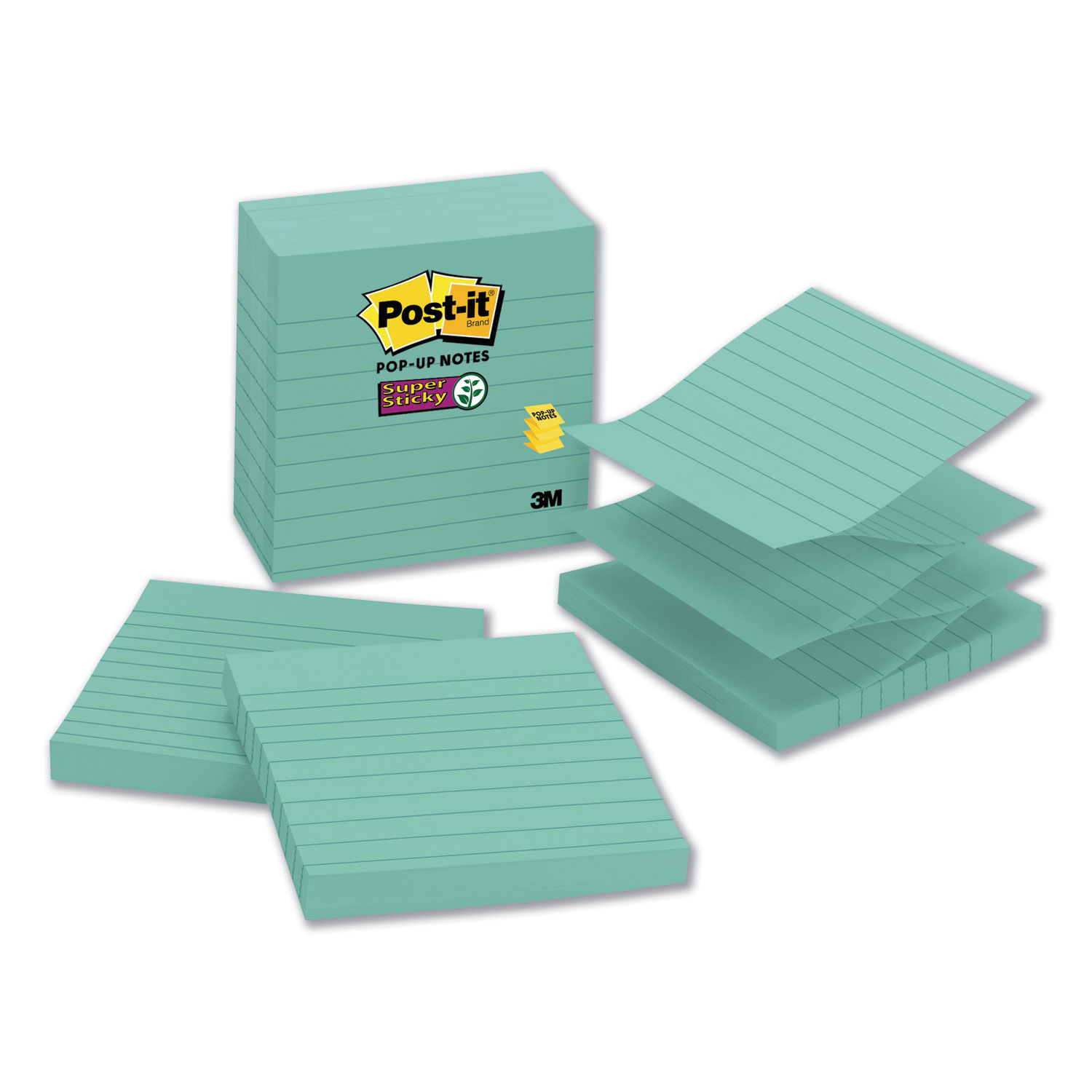 Pop-up Notes Refill, Lined, 4 x 4, Aqua Wave, 90-Sheet, 5/Pack