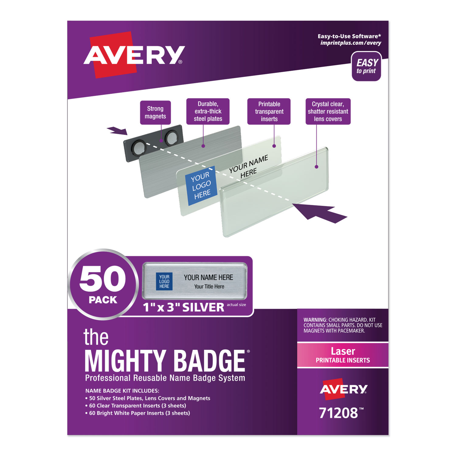 The Mighty Badge Name Badge Holder Kit, Horizontal, 3 x 1, Laser, Silver, 50 Holders/120 Inserts