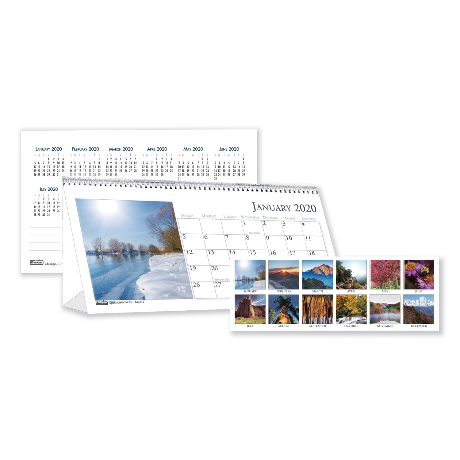Recycled Scenic Photos Desk Tent Monthly Calendar 8 1 2 X