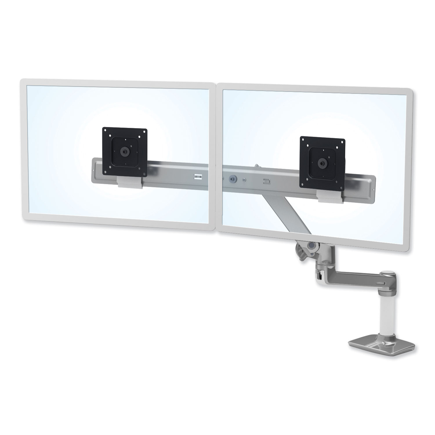 """Ergotron LX Dual Direct Monitor Arm for Monitors up to 25"""", 33.5w x 33.5d x 21h, Polished Aluminum"""