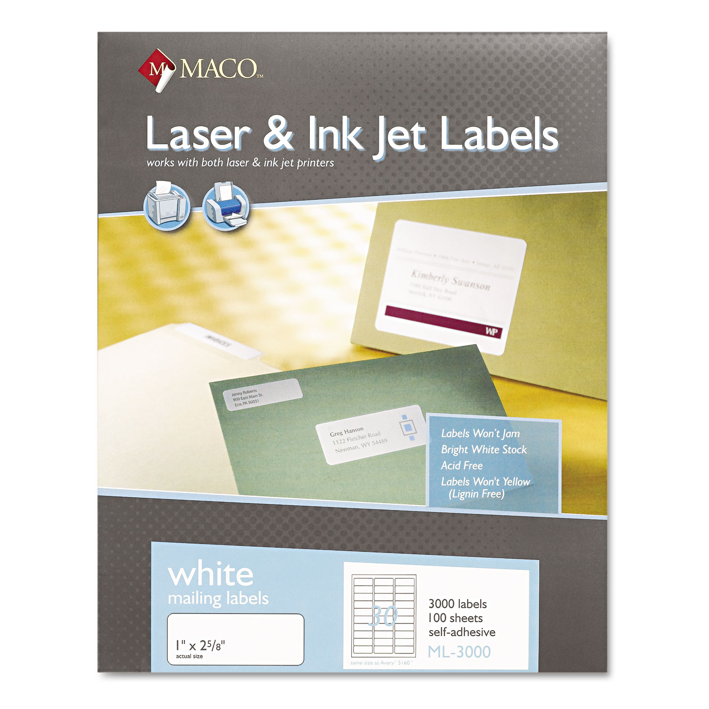 White Laser/Inkjet Shipping and Address Labels, Inkjet/Laser Printers, 1 x 2.63, White, 30/Sheet, 100 Sheets/Box