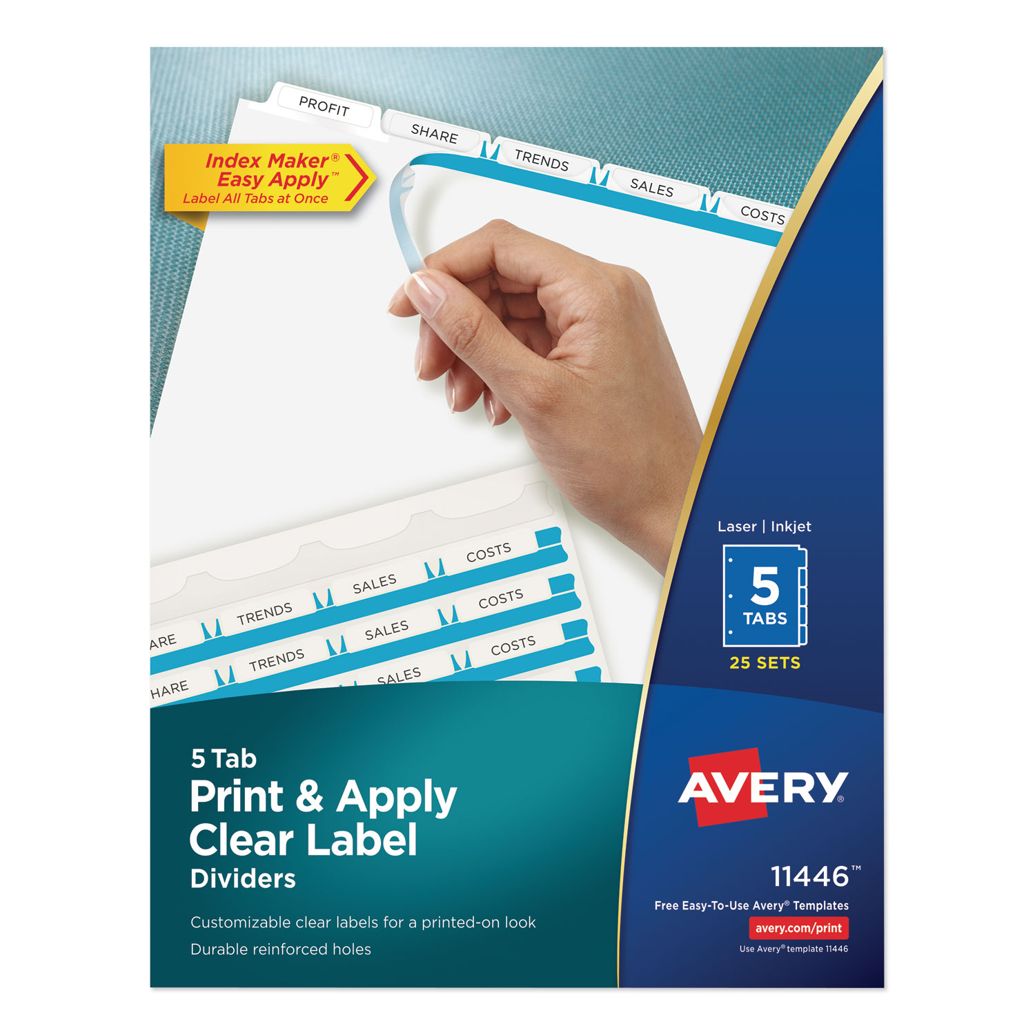 Print and Apply Index Maker Clear Label Dividers, 5 White Tabs, Letter, 25 Sets