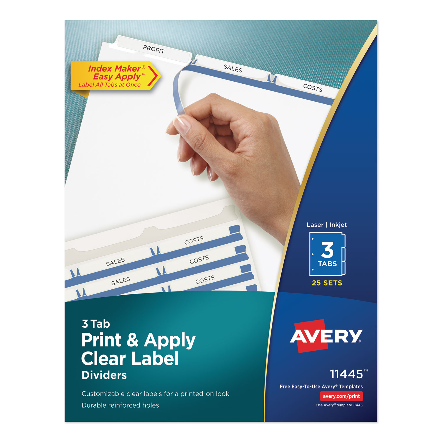 Print and Apply Index Maker Clear Label Dividers, 3 White Tabs, Letter, 25 Sets
