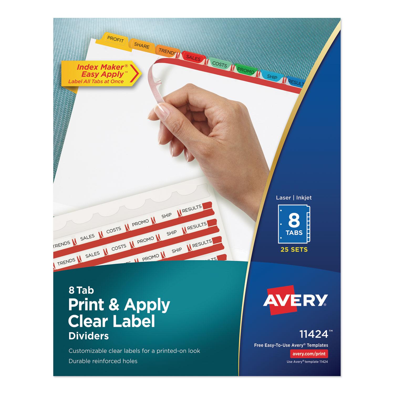 Print and Apply Index Maker Clear Label Dividers, 8 Color Tabs, Letter, 25 Sets