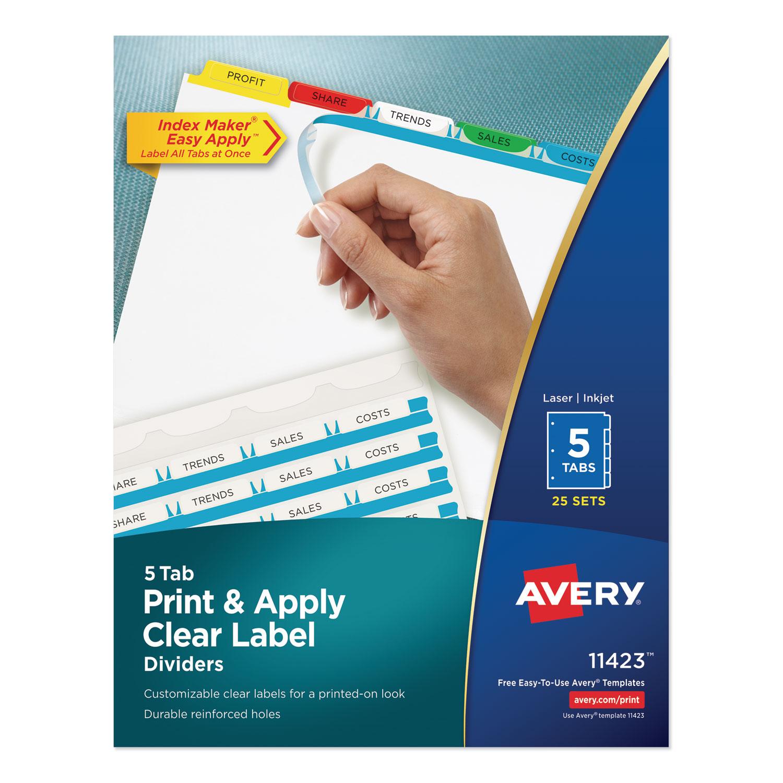 Print and Apply Index Maker Clear Label Dividers, 5 Color Tabs, Letter, 25 Sets