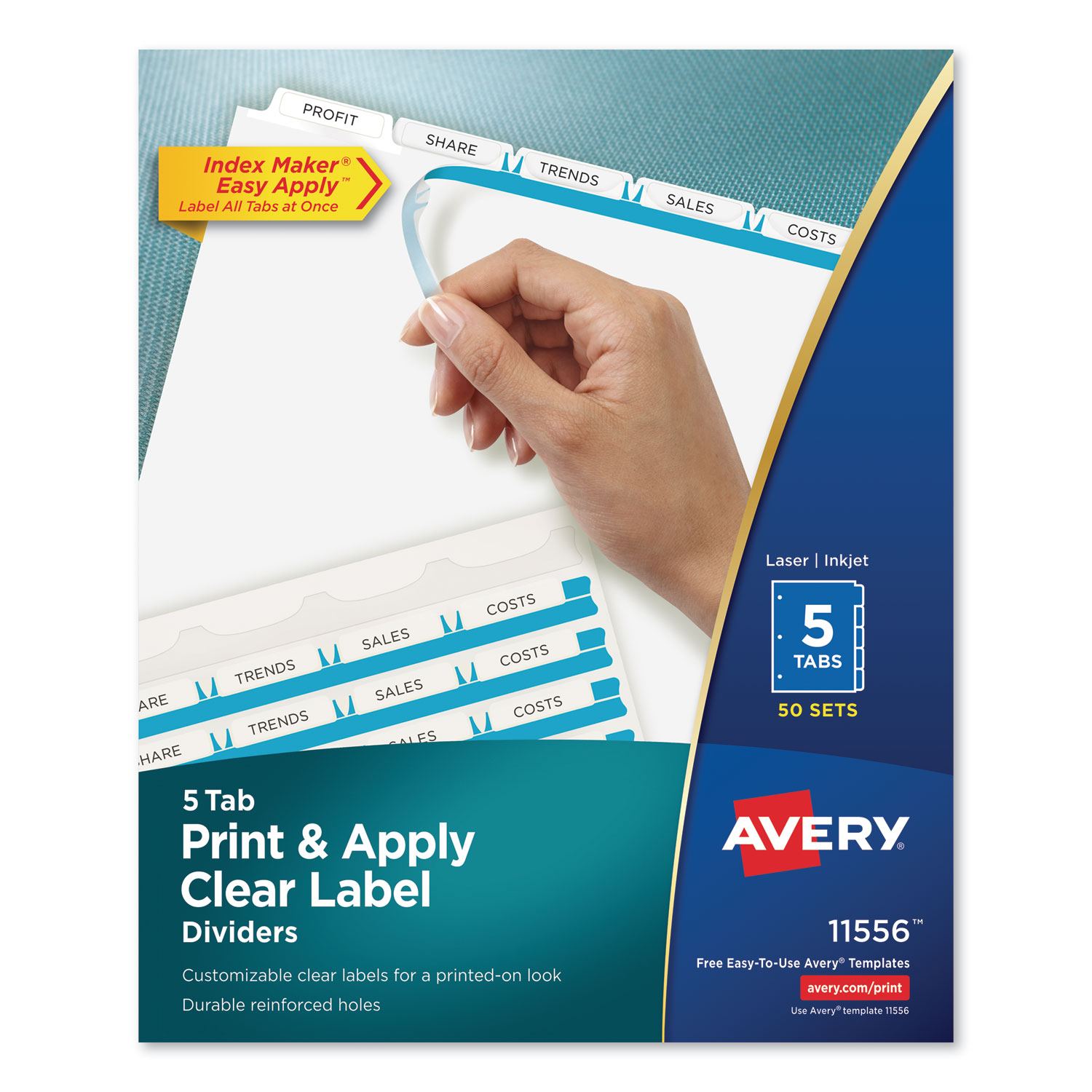 Print and Apply Index Maker Clear Label Dividers, 5 White Tabs, Letter, 50 Sets
