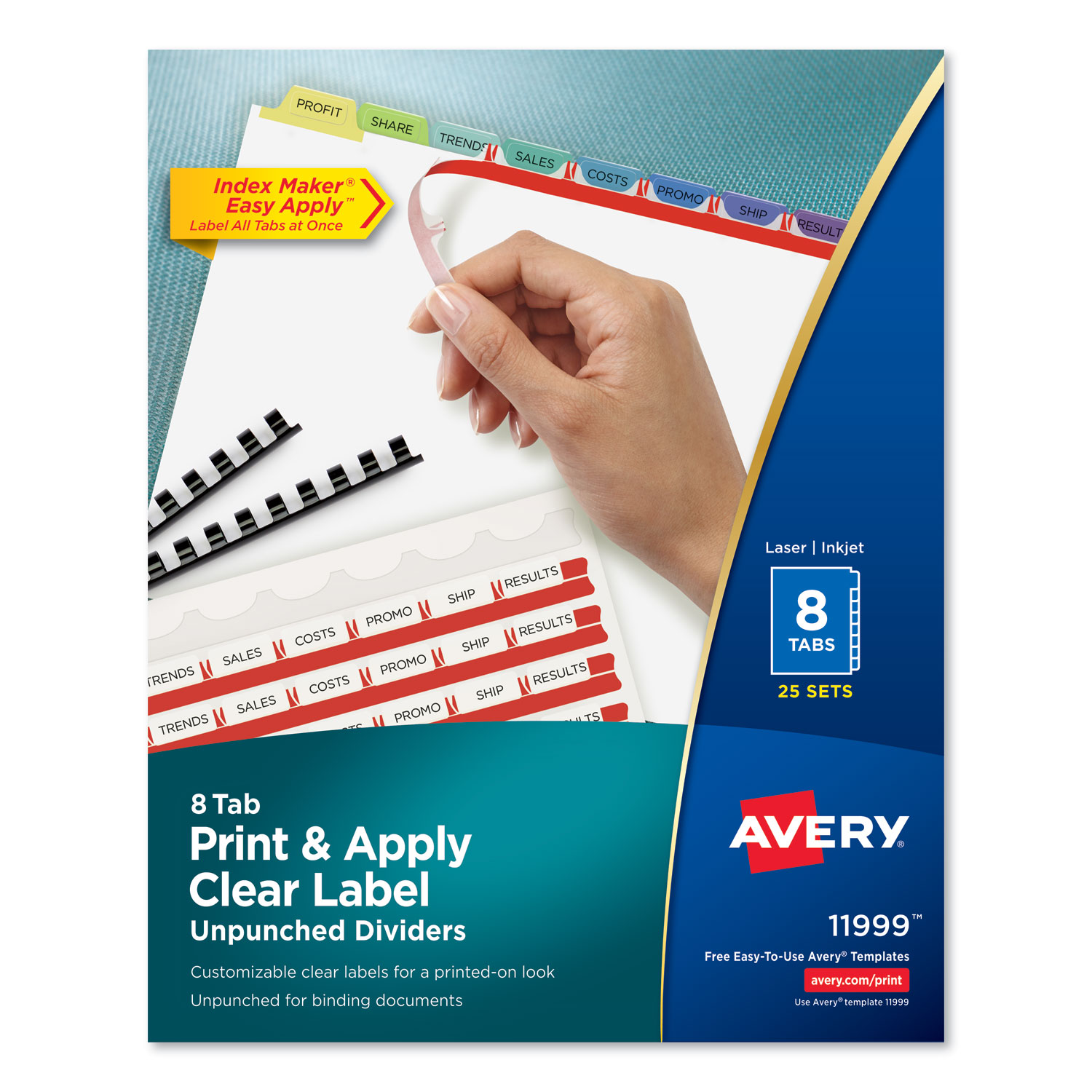 Print and Apply Index Maker Clear Label Unpunched Dividers, 8-Tab, Ltr, 25 Sets