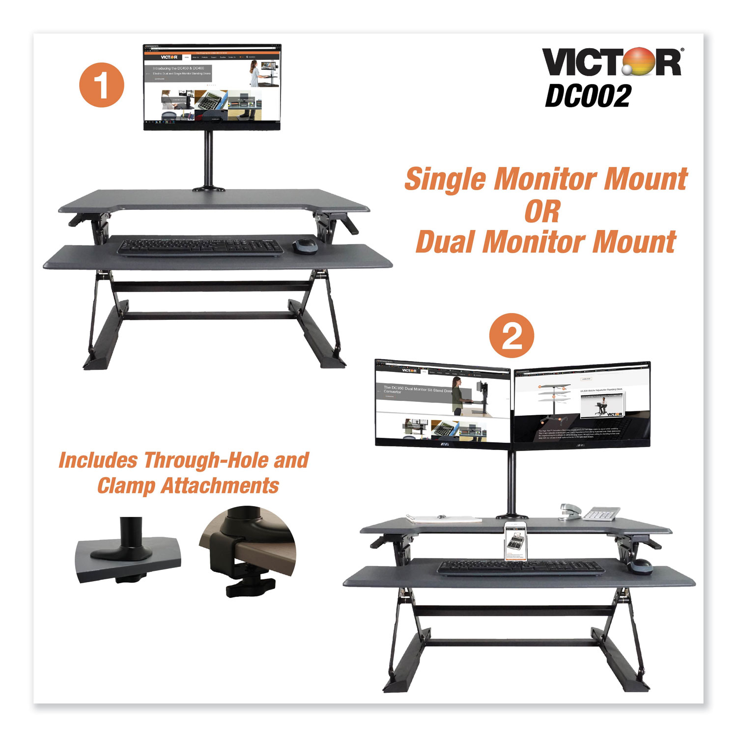Monitor Mount With Single And Dual Arm Components, 27 1/2 X 3 X 16 1/2, Black
