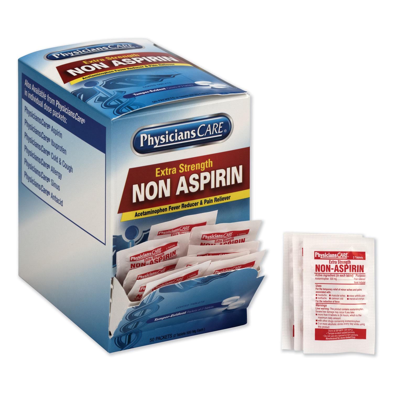 Non Aspirin Acetaminophen Medication, Two-Pack, 50 Packs/Box
