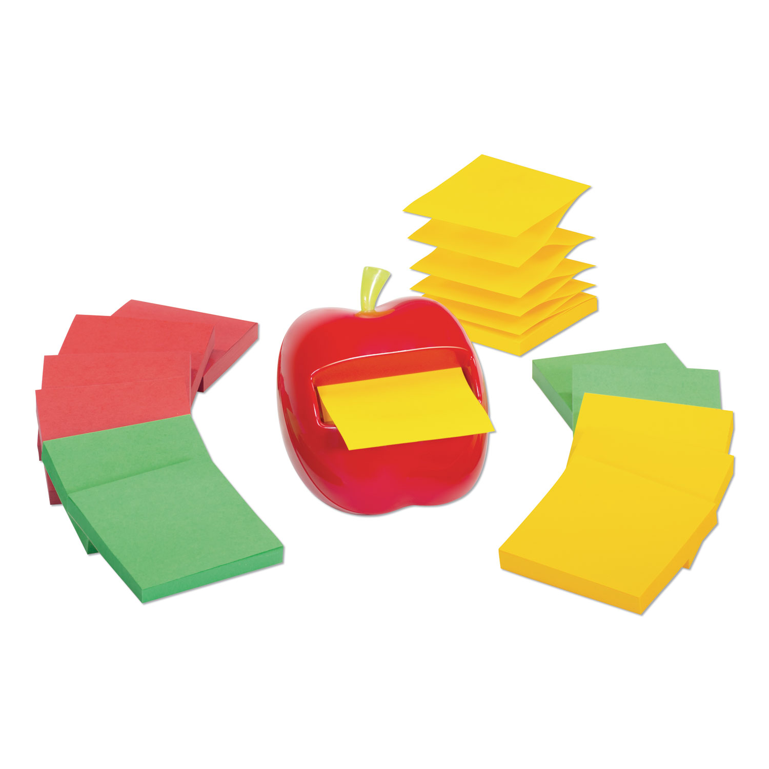 Apple Notes Dispenser Value Pack, 3 x 3 Marrakesh Color Collection Pads, Red/Green, 12 Pads/Pack