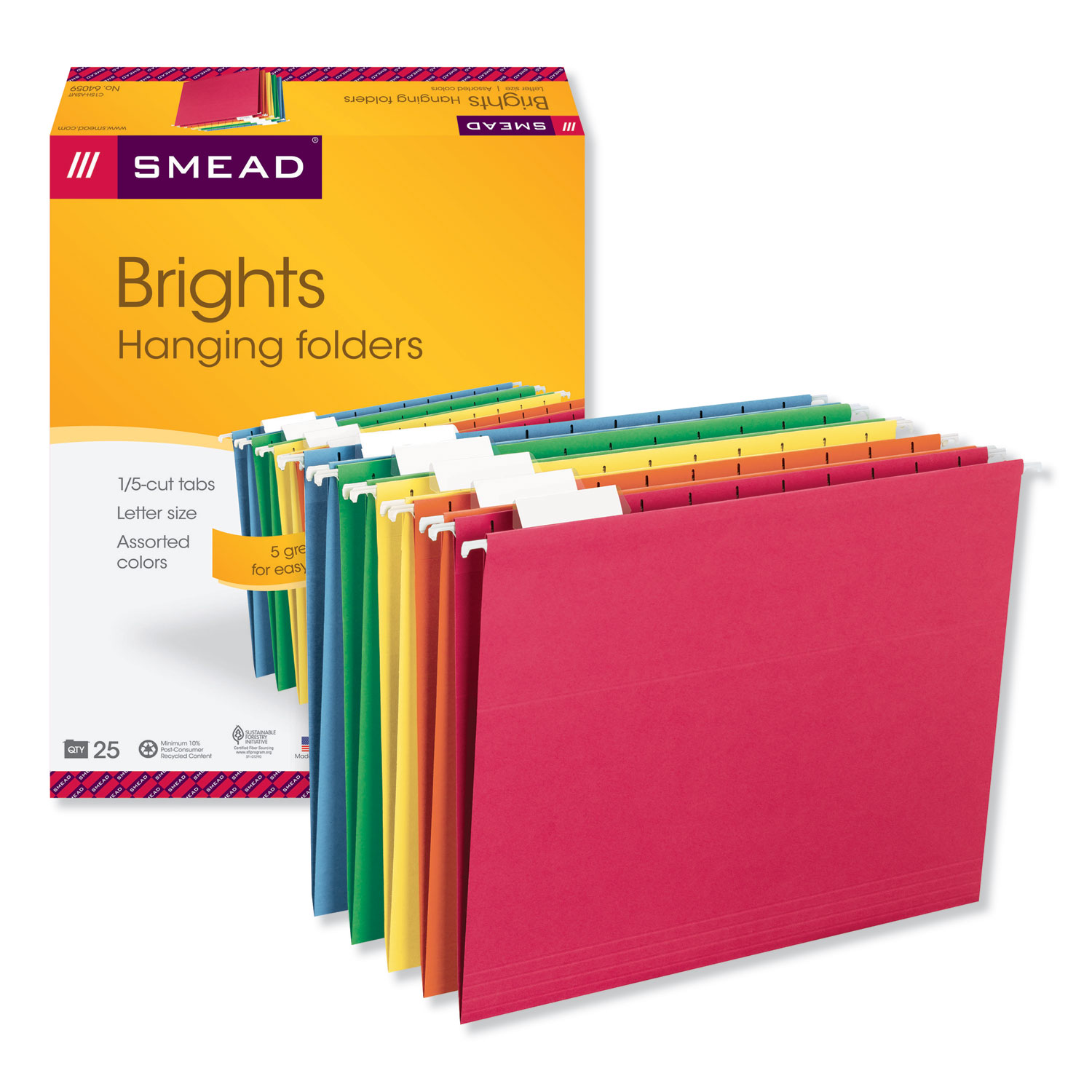 Colored Hanging File Folders, Letter Size, 1/5-Cut Tab, Assorted, 25