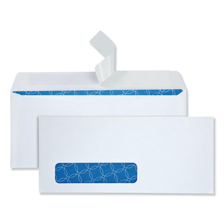 Security Envelope, #10, Commercial Flap, Redi-Strip Closure, 4.13 x 9.5, White, 500/Box