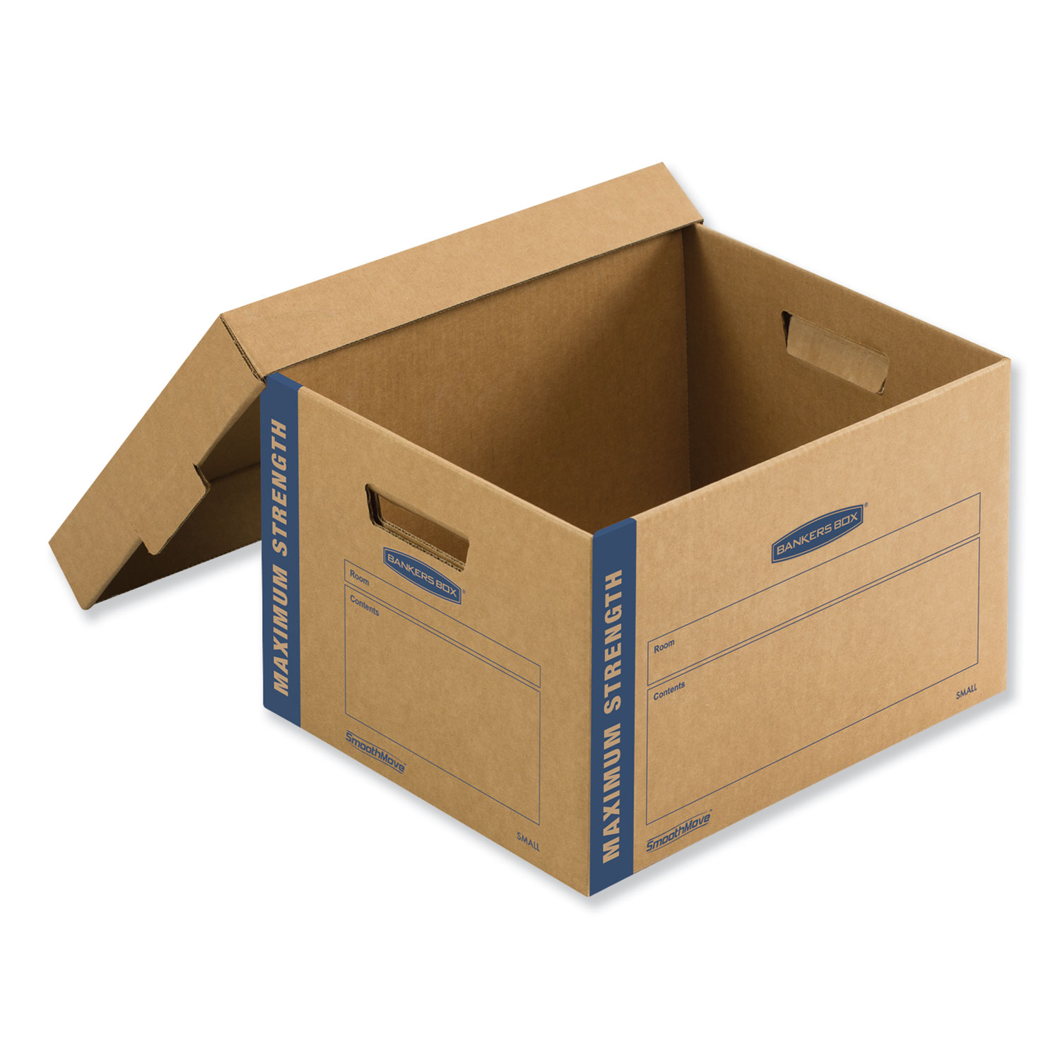 """SmoothMove Maximum Strength Moving Boxes, Small, Half Slotted Container (HSC), 15"""" x 15"""" x 12"""", Brown Kraft/Blue, 8/Pack"""