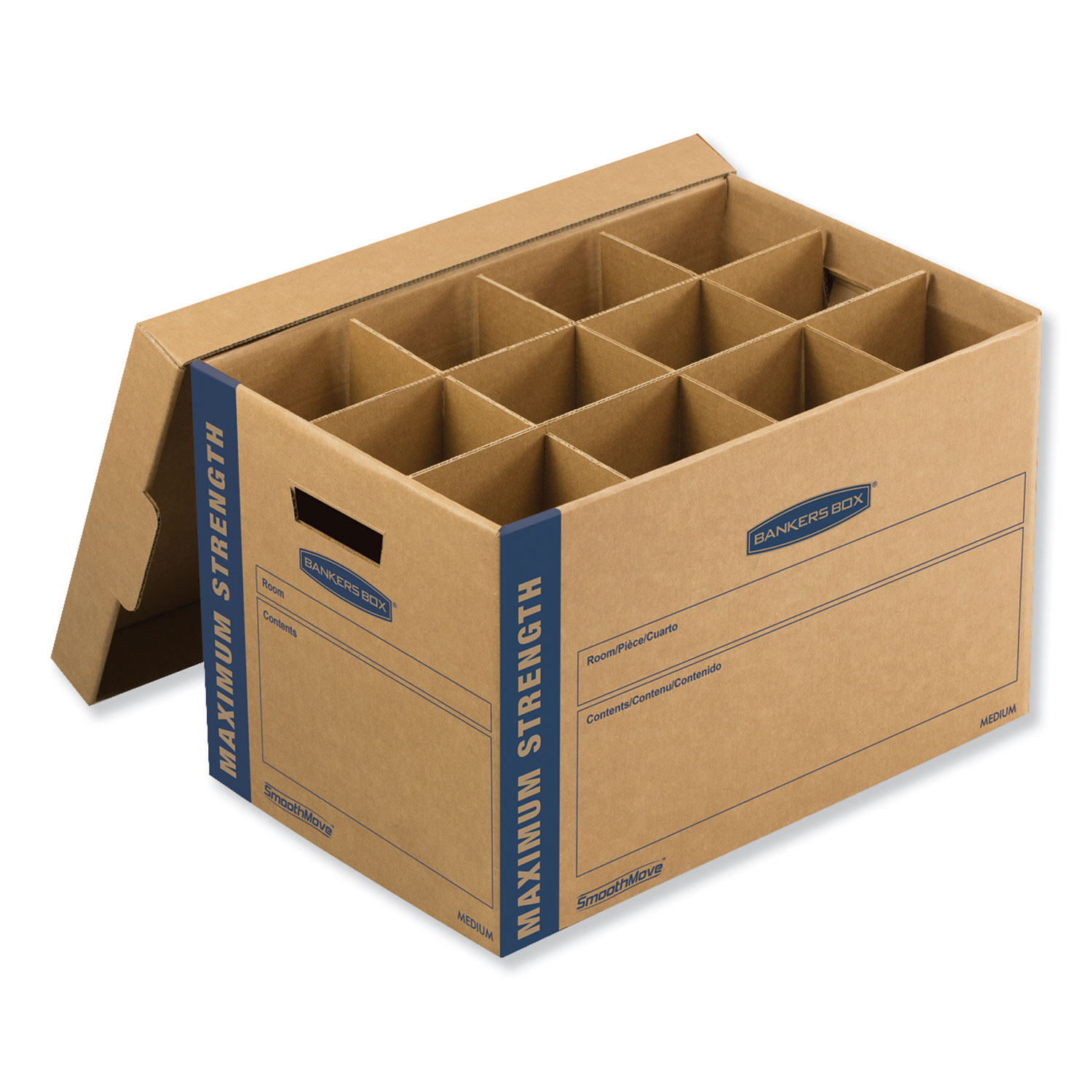 """SmoothMove Kitchen Moving Kit, Medium, Half Slotted Container (HSC), 18.5"""" x 12.25"""" x 12"""", Brown Kraft/Blue"""