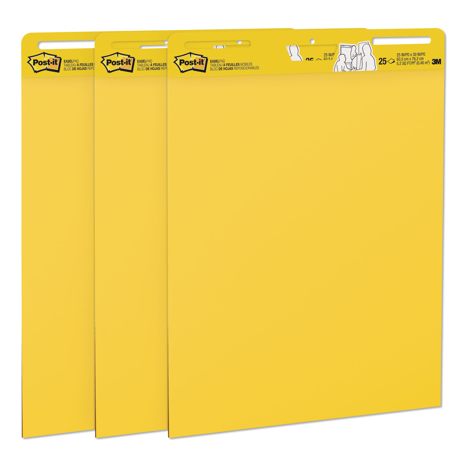 Self-Stick Easel Pads, 25 x 30, Bright Yellow, 25 Sheets, 3/Carton